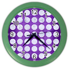 Circles1 White Marble & Purple Brushed Metal Color Wall Clocks by trendistuff