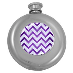 Chevron9 White Marble & Purple Brushed Metal (r) Round Hip Flask (5 Oz) by trendistuff