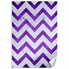 Chevron9 White Marble & Purple Brushed Metal (r) Canvas 12  X 18   by trendistuff