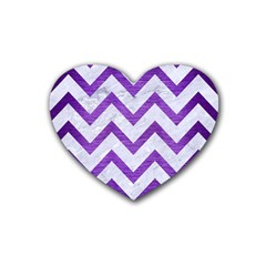 Chevron9 White Marble & Purple Brushed Metal (r) Rubber Coaster (heart)  by trendistuff