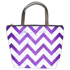 Chevron9 White Marble & Purple Brushed Metal (r) Bucket Bags by trendistuff