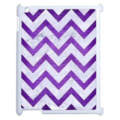 Chevron9 White Marble & Purple Brushed Metal (r) Apple Ipad 2 Case (white) by trendistuff