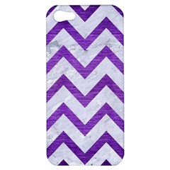 Chevron9 White Marble & Purple Brushed Metal (r) Apple Iphone 5 Hardshell Case by trendistuff