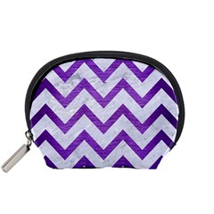 Chevron9 White Marble & Purple Brushed Metal (r) Accessory Pouches (small)  by trendistuff