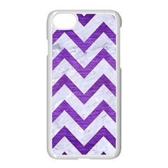 Chevron9 White Marble & Purple Brushed Metal (r) Apple Iphone 8 Seamless Case (white)