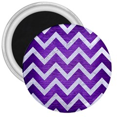 Chevron9 White Marble & Purple Brushed Metal 3  Magnets by trendistuff