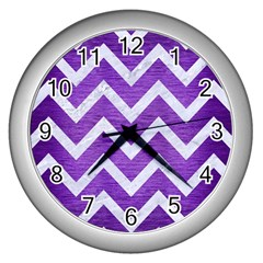 Chevron9 White Marble & Purple Brushed Metal Wall Clocks (silver)  by trendistuff