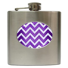 Chevron9 White Marble & Purple Brushed Metal Hip Flask (6 Oz) by trendistuff