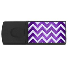 Chevron9 White Marble & Purple Brushed Metal Rectangular Usb Flash Drive