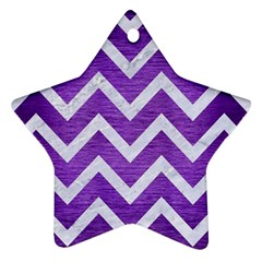 Chevron9 White Marble & Purple Brushed Metal Star Ornament (two Sides) by trendistuff