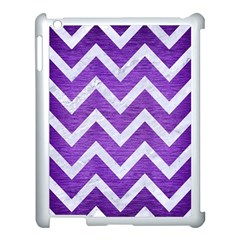 Chevron9 White Marble & Purple Brushed Metal Apple Ipad 3/4 Case (white) by trendistuff
