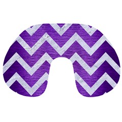 Chevron9 White Marble & Purple Brushed Metal Travel Neck Pillows by trendistuff