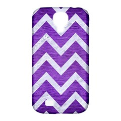 Chevron9 White Marble & Purple Brushed Metal Samsung Galaxy S4 Classic Hardshell Case (pc+silicone) by trendistuff