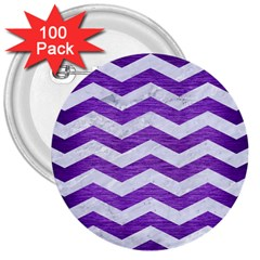 Chevron3 White Marble & Purple Brushed Metal 3  Buttons (100 Pack)  by trendistuff