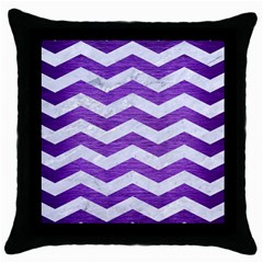 Chevron3 White Marble & Purple Brushed Metal Throw Pillow Case (black)