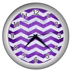 Chevron3 White Marble & Purple Brushed Metal Wall Clocks (silver)  by trendistuff