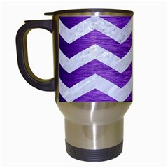 Chevron3 White Marble & Purple Brushed Metal Travel Mugs (white) by trendistuff