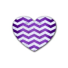 Chevron3 White Marble & Purple Brushed Metal Heart Coaster (4 Pack)  by trendistuff