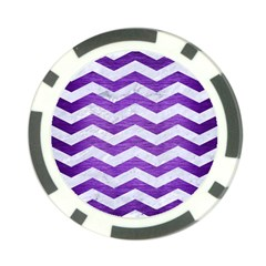 Chevron3 White Marble & Purple Brushed Metal Poker Chip Card Guard by trendistuff