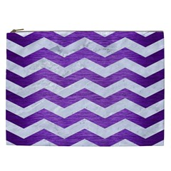Chevron3 White Marble & Purple Brushed Metal Cosmetic Bag (xxl)  by trendistuff