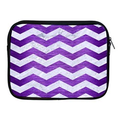 Chevron3 White Marble & Purple Brushed Metal Apple Ipad 2/3/4 Zipper Cases by trendistuff