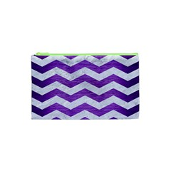 Chevron3 White Marble & Purple Brushed Metal Cosmetic Bag (xs) by trendistuff