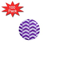 Chevron2 White Marble & Purple Brushed Metal 1  Mini Magnets (100 Pack)  by trendistuff