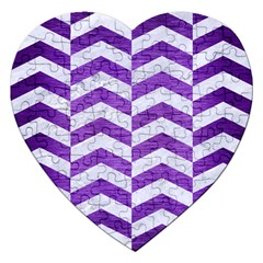Chevron2 White Marble & Purple Brushed Metal Jigsaw Puzzle (heart) by trendistuff