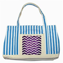 Chevron2 White Marble & Purple Brushed Metal Striped Blue Tote Bag by trendistuff