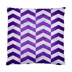 Chevron2 White Marble & Purple Brushed Metal Standard Cushion Case (two Sides) by trendistuff