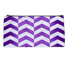 Chevron2 White Marble & Purple Brushed Metal Pencil Cases by trendistuff