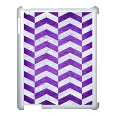 Chevron2 White Marble & Purple Brushed Metal Apple Ipad 3/4 Case (white) by trendistuff