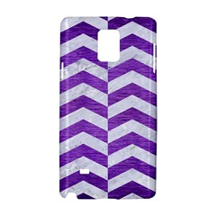 Chevron2 White Marble & Purple Brushed Metal Samsung Galaxy Note 4 Hardshell Case by trendistuff