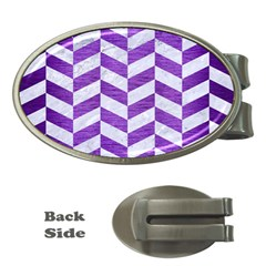 Chevron1 White Marble & Purple Brushed Metal Money Clips (oval)  by trendistuff