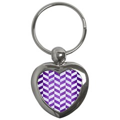 Chevron1 White Marble & Purple Brushed Metal Key Chains (heart)  by trendistuff