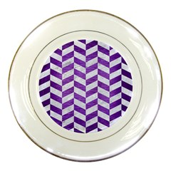 Chevron1 White Marble & Purple Brushed Metal Porcelain Plates by trendistuff