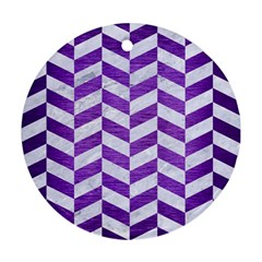 Chevron1 White Marble & Purple Brushed Metal Round Ornament (two Sides) by trendistuff