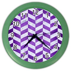 Chevron1 White Marble & Purple Brushed Metal Color Wall Clocks by trendistuff