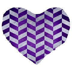 Chevron1 White Marble & Purple Brushed Metal Large 19  Premium Heart Shape Cushions by trendistuff