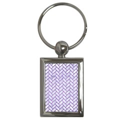 Brick2 White Marble & Purple Brushed Metal (r) Key Chains (rectangle)  by trendistuff