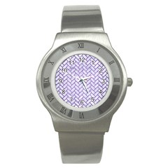Brick2 White Marble & Purple Brushed Metal (r) Stainless Steel Watch by trendistuff