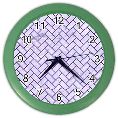 Brick2 White Marble & Purple Brushed Metal (r) Color Wall Clocks by trendistuff