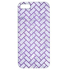 Brick2 White Marble & Purple Brushed Metal (r) Apple Iphone 5 Hardshell Case With Stand