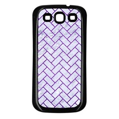 Brick2 White Marble & Purple Brushed Metal (r) Samsung Galaxy S3 Back Case (black) by trendistuff