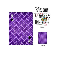 Brick2 White Marble & Purple Brushed Metal Playing Cards 54 (mini)  by trendistuff