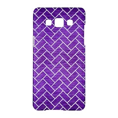 Brick2 White Marble & Purple Brushed Metal Samsung Galaxy A5 Hardshell Case  by trendistuff