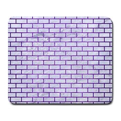 Brick1 White Marble & Purple Brushed Metal (r) Large Mousepads by trendistuff