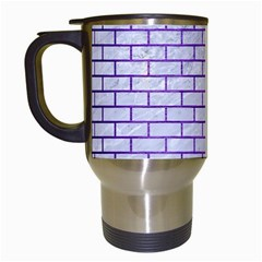Brick1 White Marble & Purple Brushed Metal (r) Travel Mugs (white) by trendistuff