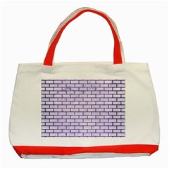 Brick1 White Marble & Purple Brushed Metal (r) Classic Tote Bag (red) by trendistuff