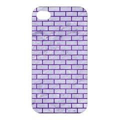 Brick1 White Marble & Purple Brushed Metal (r) Apple Iphone 4/4s Hardshell Case by trendistuff